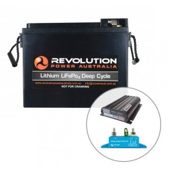 Revolution 60Ah Slim Line Lithium Battery in Vehicle Charging Solution, 25 Amp - Lithium Batteries