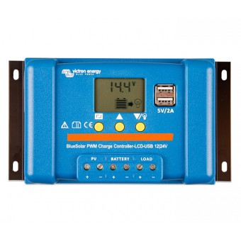 Victron BlueSolar PWM-LCD&USB 12/24V-5A Charge Controller - Solar Charge Controllers