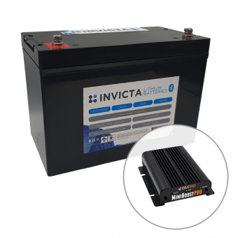 Invicta 12V 100Ah Lithium Battery with Bluetooth + BMPRO 30A 12V DC to DC Battery Charger with Solar Input - Battery Bundles