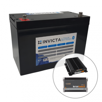 Invicta 12V 100Ah Lithium Battery with Bluetooth + BMPRO 30A 12V DC Battery Charger + BMPRO 25A 12V AC Battery Charger - Battery Bundles
