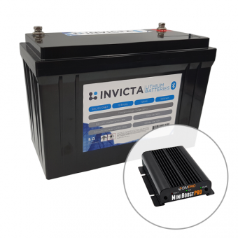 Invicta 12V 125Ah Lithium Battery with Bluetooth + BMPRO 30A 12V DC to DC Battery Charger with Solar Input - Battery Bundles