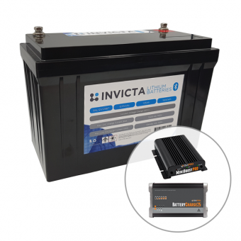Invicta 12V 125Ah Lithium Battery with Bluetooth + BMPRO 30A 12V DC Battery Charger + BMPRO 25A 12V AC Battery Charger - Battery Bundles
