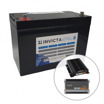 Invicta 12V 200Ah Lithium Battery with Bluetooth + BMPRO 30A 12V DC Battery Charger + BMPRO 25A 12V AC Battery Charger - Battery Bundles