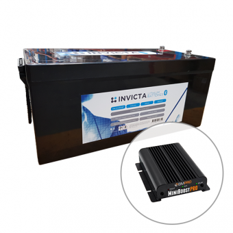 Invicta 12V 300Ah Lithium Battery with Bluetooth + BMPRO 30A 12V DC to DC Battery Charger with Solar Input - Battery Bundles