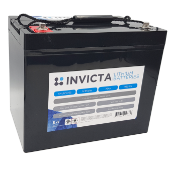 Invicta 12V 75Ah Lithium Battery with 4 Series Functionality - Root Catalog