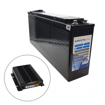 Invicta 12V 100Ah Front Terminal Lithium Battery with Bluetooth + BMPRO 30A 12V DC to DC Battery Charger with Solar Input - Root Catalog