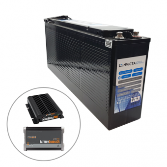 Invicta 12V 100Ah Front Terminal Lithium Battery with Bluetooth  + BMPRO 30A 12V DC Battery Charger + BMPRO 25A 12V AC Battery Charger - Battery Bundles
