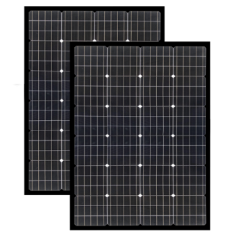 Enerdrive 2 x 150W Squat Fixed Solar Panel, Twin Pack, Black - Camping Solar Panels & Accessories