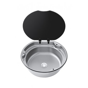 Thetford Round Bowl Sink With Glass Lid - Caravan Sinks & Taps
