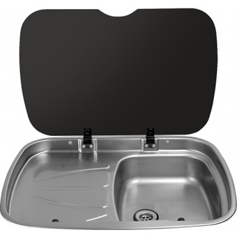 Thetford MK3 Argent Sink With Glass Lid, Left Hand Drain - Caravan Sinks & Taps